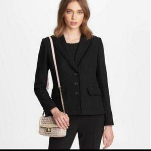 Karl Lagerfeld Paris Fringe Trim Knit Tweed Blazer